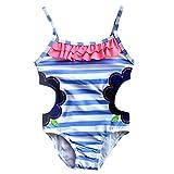Meeyocc Little Girls One-Piece Swimsuit Colorful Summer Swim Skirt Strip Flower Lovely Swim Dress Cute Bikini Bathing Suit 3-4Y