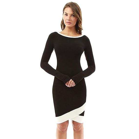 Kleid damen Kolylong® Frauen Elegant Unregelmäßiges Langarm Kleid ...
