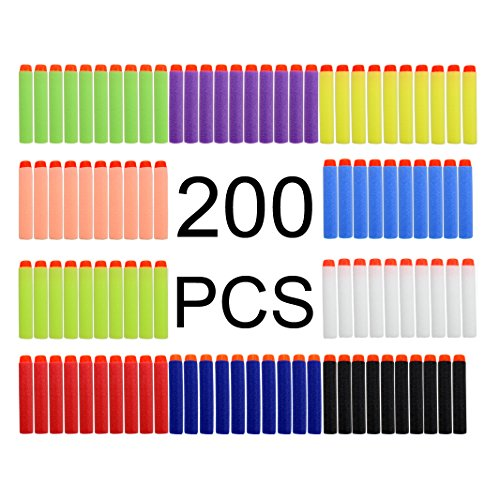 Zicome 200 Pack Refill Darts Foam Bullets for Nerf War Gun Party, 10 Bright Multiple Colors