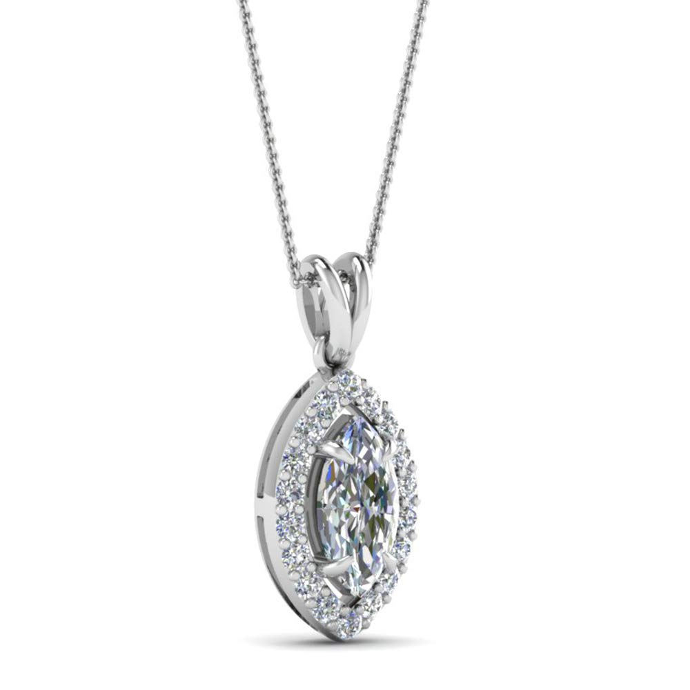 0.39 Ct Marquise /& Round Cut Simulated Diamond Halo Pendant With 18 Chain 14K White Gold Plated