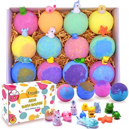 Kids Bath Bombs with Surprise Toys Inside - Lush Bubble Bath Fizzies Vegan Essential Oil Spa Bath Fizz Balls Kit for Girls/Boys/Women Dry Skin Moisturize, Handmade 12 Gift Set, Kid Safe