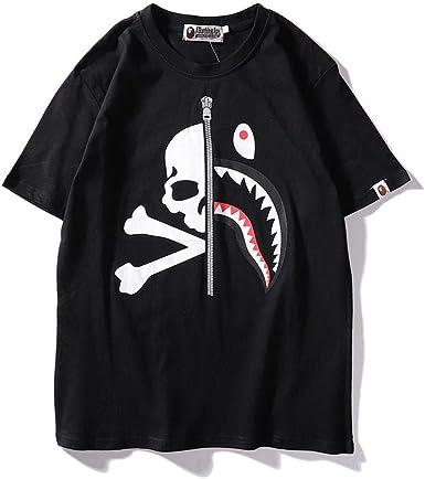 vandelkt Camiseta para Hombre Edición Japonesa Shark Head Letters Hombres Y Mujeres Amantes Camiseta Militar De Manga Corta @ Black_L: Amazon.es: Ropa y accesorios