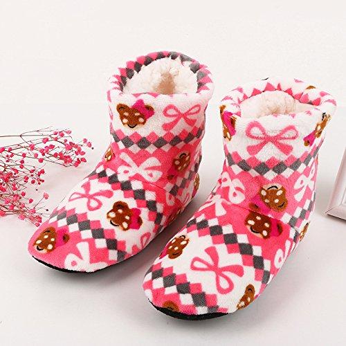 Fankou pavimento scarpe spessa invernale antiscivolo scarpe home donna adulto caldi stivali e scarpe indoor, in cotone blu mop (36-39)