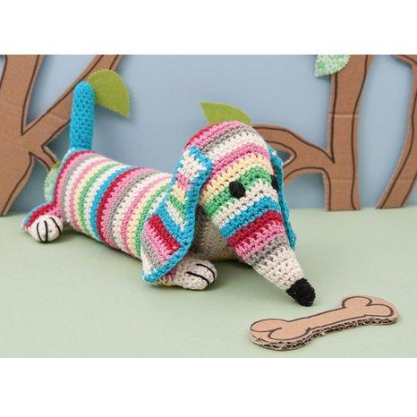 Crochet a Dog Kit - Ted the Daschund Dog - Make your own Dog Crochet Kit Rico Design 4000110.003
