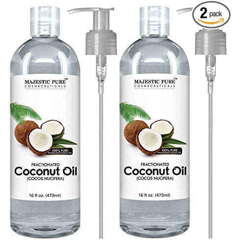 Majestic Pure Fractionated Coconut Oil, For Aromatherapy Relaxing Massage, Carrier Oil for Diluting Essential Oils, Hair & Skin Care Benefits, Moisturizer & Softener - Set of 2. by Majestic Pure (Image #1)