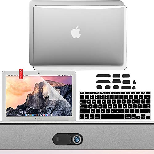 GMYLE MacBook Pro 13 Inch Case A1278 Accessories 5 in 1 Bundle, Hard Shell, Privacy Webcam Cover Slide, Anti Dust Plugs, Keyboard Cover Screen Protector for Apple MacBook Pro 13 CD-ROM, Crystal Clear
