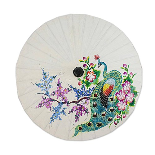 NOVICA Floral Mulitcolor Saa Paper and Bamboo Painted Paper Parasol, Peacock and Flowers' ()
