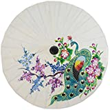 NOVICA Floral Mulitcolor Saa Paper and Bamboo Painted Paper Parasol, Peacock And Flowers'