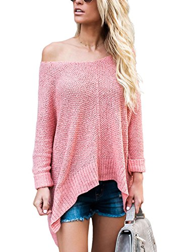 ZKESS Womens Loose Round Neck One Off Shoulder Long Sleeve Irregular Front Knitted Sweater Pullovers Top Pink Large