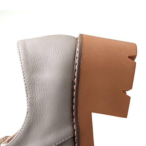 VogueZone009 Damen Mittler Weiches Material Rein Ziehen auf Rund Zehe Pumps Schuhe Grau