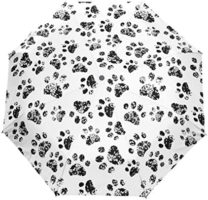 ALAZA 自動開閉式折りたたみ傘 猫の足跡柄 犬の足跡柄 肉球柄 クリーム 8本骨 傘ケース付き 晴雨兼用 3段折 梅雨対策 プレゼント
