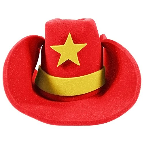 Funny Party Hats Huge Cowboy Hat - Funny Cowboy Hat - Costume Cowboy Hat - Oversize Foam Cowboy Hat Red -