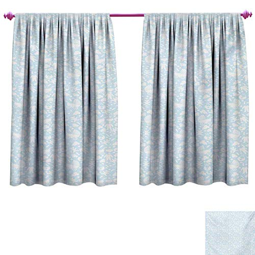- Baby Decorative Curtains for Living Room Hearts Background with Teddy Bears Strollers Infant Clothes Newborn Child Theme Waterproof Window Curtain W63 x L72 Pale Blue White