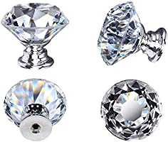 Crystal Door Knobs, 30mm Glass Drawer Knobs Crystal Door Handles Diamond Pulls with Screws for Home Kitchen Office Chest...