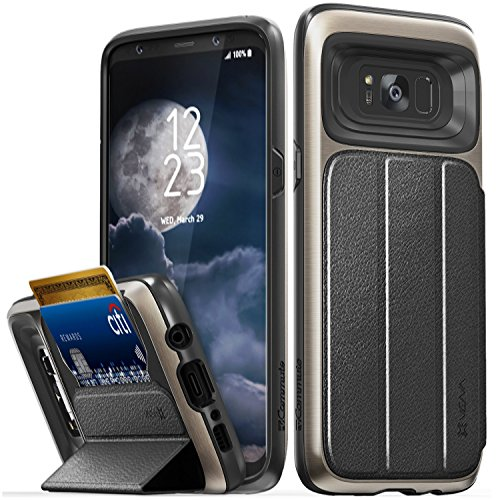 Galaxy S8 Plus Case, Vena vCommute Flip Leather Back [Card Slot Holder][Military Grade] KickStand Cover for Samsung Galaxy S8+