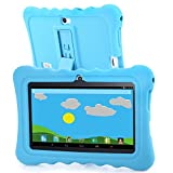 GBtiger Kids Tablet 7 inch Android 4.4 Quad Core 1024 x 600 Resolution 1.3GHz WiFi GPS Bluetooth Game Tablet For Child, White with Blue Cover