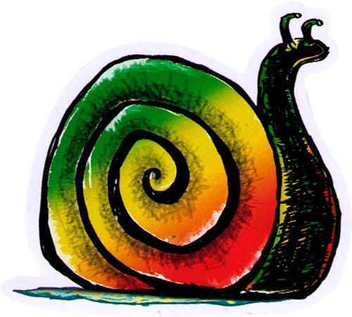 Rasta Snail - Small Reggae / Rasta Bumper Sticker / Decal (3
