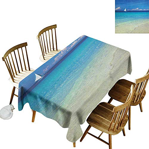 kangkaishi Waterproof Anti-Wrinkle no Pollution Long Tablecloth Exotic Tropic Beach in Philippines Island Horizon Summer Paradise Concept W60 x L84 Inch Turquoise Cream