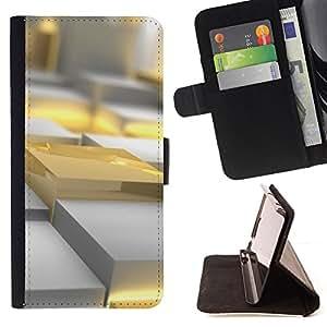 - Queen Pattern FOR Samsung Galaxy S3 III I9300 /La identificaci????n del cr????dito ranuras para tarjetas tir????n de la caja Cartera de cuero cubie - gold yellow polygon art 3d