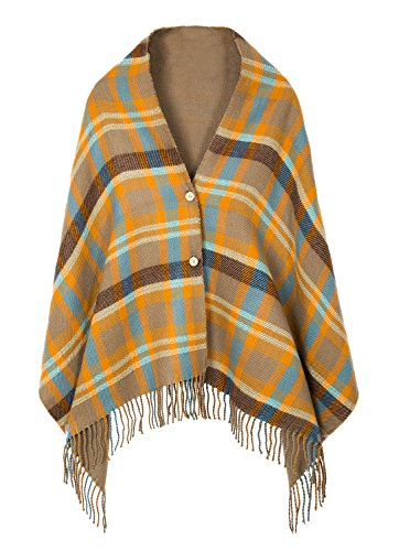 Women's Vintage Plaid Knitted Tassel Poncho Shawl Cape Button Cardigan (One Size,Series 1 - Shawl 1 Button