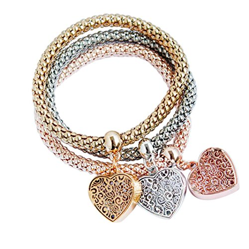 Tiffany Rose Bracelet - Willsa 3pcs Charm Women Snake chain Bracelet Gold Silver Rose Gold Heart Shape Rhinestone Bangle