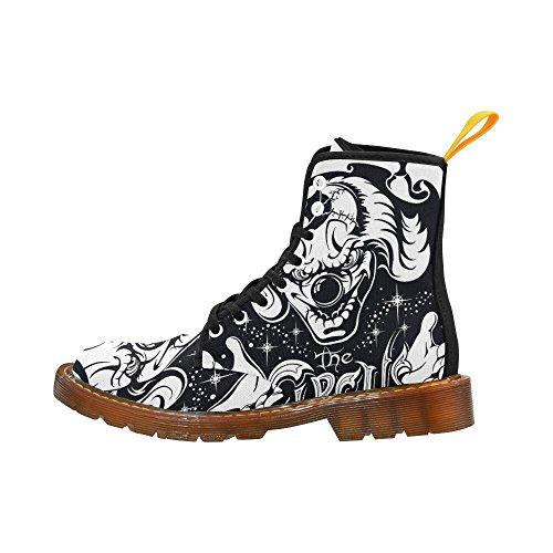Interestprint Temible Cabeza De Payaso Imprimir Lace Up Botas Zapatos De Moda Para Mujeres