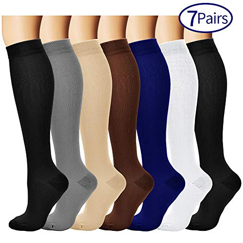 7 Pairs Compression Socks For Women and Men - Best Medical, Nursing, for Running, Athletic, Edema, Diabetic, Varicose Veins, Travel, Pregnancy & Maternity - 15-20mmHg, Large / X-Large,  Assorted 1 -