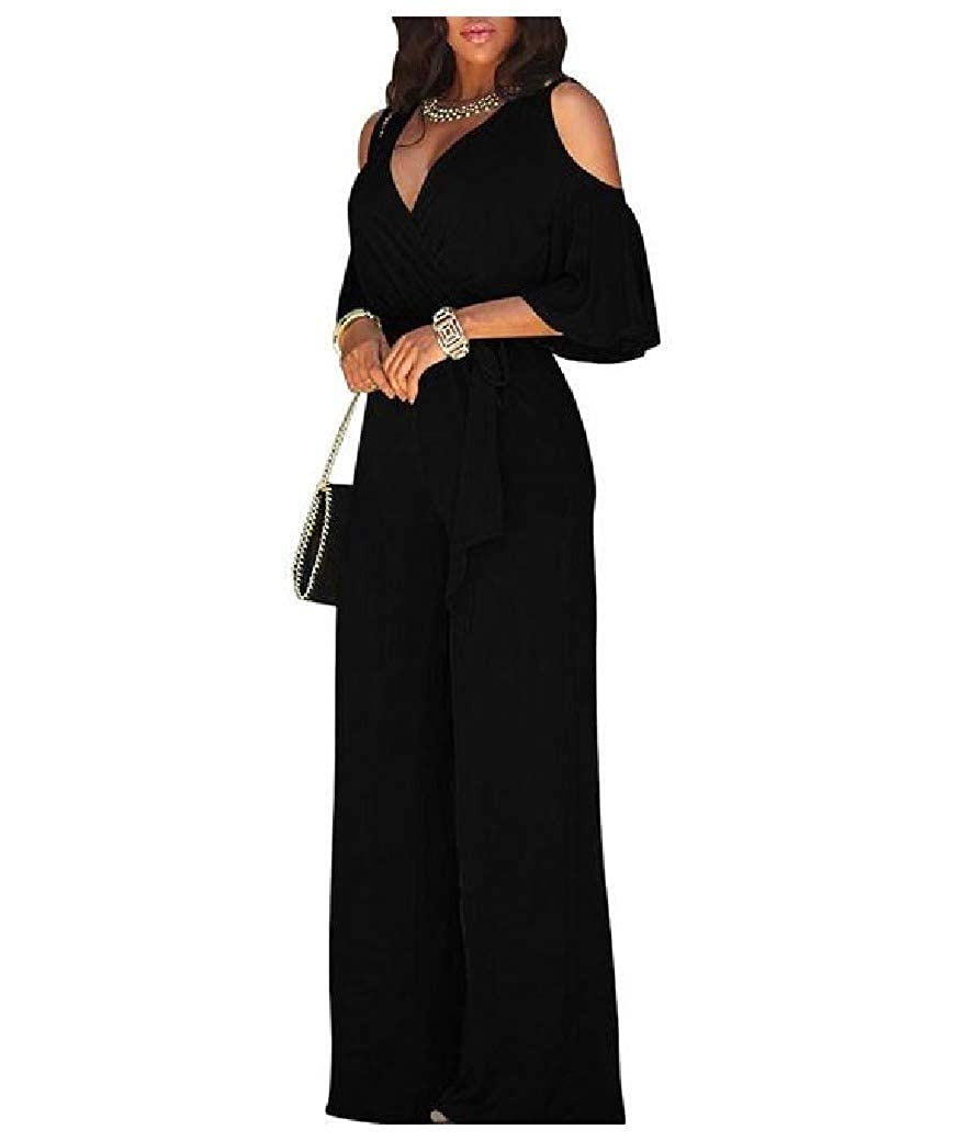 Freedom Womens Slim Fit Cold Shoulder Wide Leg with Belt Long Jumpsuit