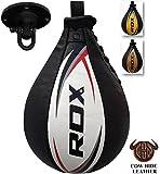 RDX Speed Ball Boxing Genuine Leather MMA Muay Thai Training Punching Dodge Striking Bag Kit Hanging Swivel Workout Speedball Kicking