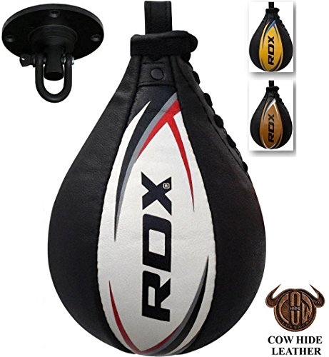 RDX Speed Ball Boxing Genuine Leather MMA Muay Thai Training Punching Dodge Striking Bag Kit Hanging Swivel Workout