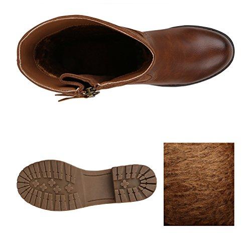 Stiefelparadies Damen Stiefeletten Nieten Biker Boots Gefütterte Stiefel Leder-Optik Schuhe Strass Schnallen Zipper Übergrößen Cut Outs Fransen Flandell Braun Camargo
