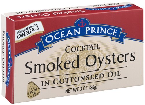 Ocean Prince Cocktail Smoked Oysters in Cottonseed Oil, 3-Ounce Cans (Pack of 18)