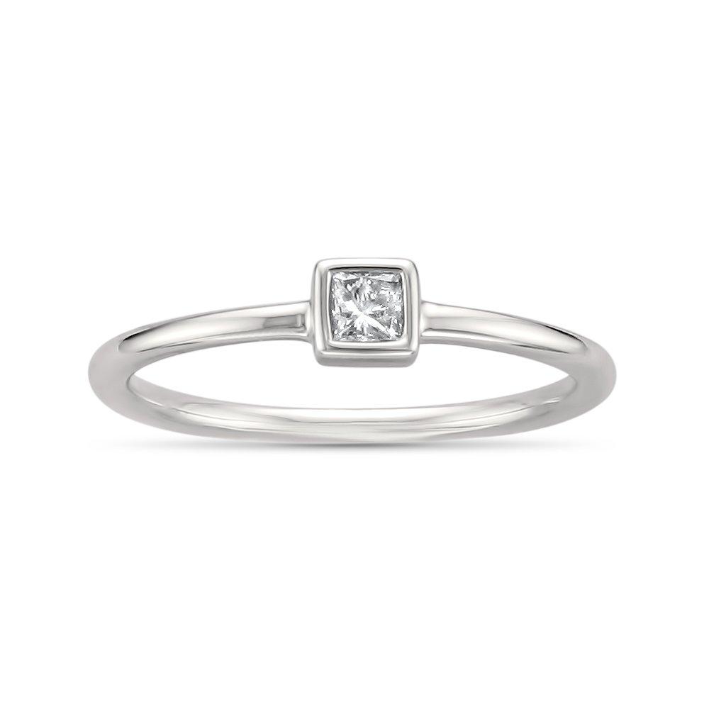 14k White Gold Princess-Cut Solitaire Diamond Promise Ring (1/10 cttw, I-J, I2-I3), Size 6 by La4ve Diamonds