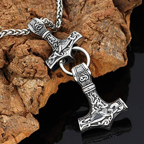 Men Stainelss Steel Viking Amulet 2 Thor Hammer Pendant Necklace -with Gift Bag ()