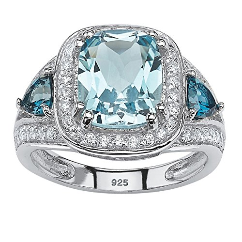 Cushion-Cut Sky and London Blue Topaz Platinum over .925 Silver Halo Cocktail Ring