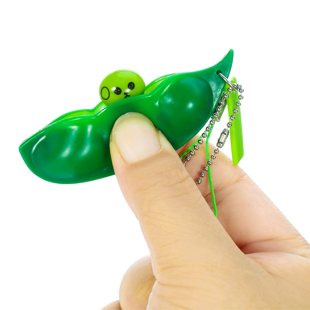 Green DaveandAthena 20 Pieces Fidget Bean Toy Funny Facial Expressions Squeeze Bean Fidget Toy Soybean Key Ring Stress Relieving Keychain for Phones Keys Backpack Gift Toy