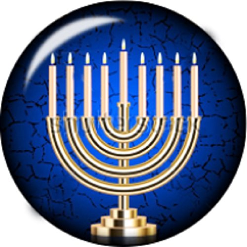 Snap button Menorah Hanukkah Paper 18mm charm chunk interchangeable