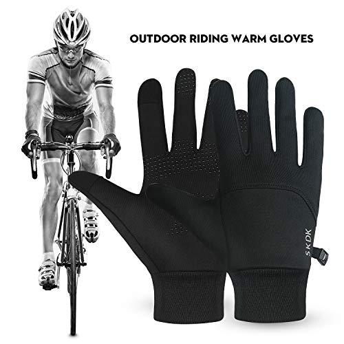 SKDK Winter Gloves Warm Lightweight Touchscreen Windproof Warm Touchscreen Gloves Men Women for Hiking Cycling Running Sports (Black, XL)