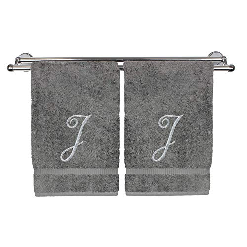 Monogrammed Hand Towel, Personalized Gift, 16 x 30 Inches - Set of 2 - Silver Embroidered Towel - Extra Absorbent 100% Turkish Cotton- Soft Terry Finish - for Bathroom, Kitchen and Spa- Script J Gray