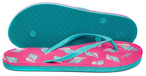 AQUA-SPEED® NAPOLI Chanclas (36-41 Mujer Playa) Farbe 03 / Pink-Türkis