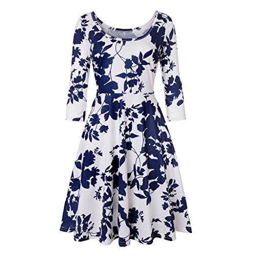 Women's Holiday Three Quarter Sleeve Floral Printing Vintage Gown Evening Party Dress Swing Dress