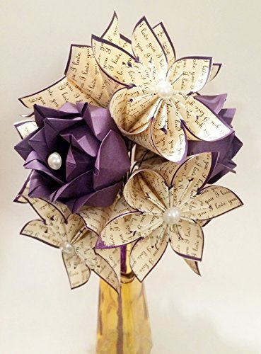 Paper Flowers & Roses Dozen- First Anniversary Gift, origami, one of a kind, wedding bouquet, paper bouquet, dark purple, fall wedding decor, traditional gift, perfect for her