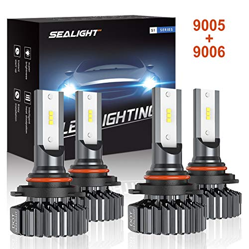 SEALIGHT 9006 HB4 9005 HB3 LED Headlight Bulbs,Combo Package (2 sets) Seoul CSP Led Chips-12000LM Hi Lo Beam 6000K Xenon White,1 Yr Warranty