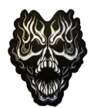 Cool Large Size Black Skull Flame Patch Badge 9.5 X 12 Inch, Look Cool Embroidered Iron on Sew for Biker Trucker Rocker Chopper Jacket …