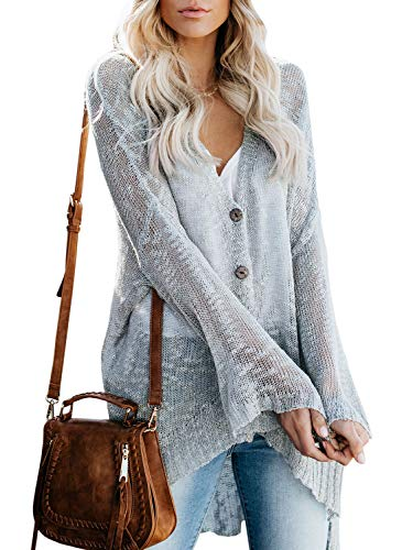 Yacooh Womens Boho Cardigans Knit Lightweight Oversized Henley Button Down Cover Up V Neck Sweaters Loose Henley Boho Tops Grey