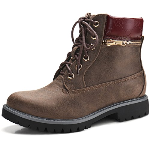 Allegra K Women's Low Heel Hiking Lace Up Ankle Bootie Combat Boots - stylishcombatboots.com