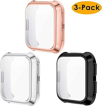 3 Paquet Couverture Totale TPU Cas Protecteur D/écran , KIMILAR Coque Compatible avec Fitbit Versa Lite Protecteur D/écran Coque Silicone Or Rose//Rosepink//Violet Pas pour Fitbit Versa//Versa 2