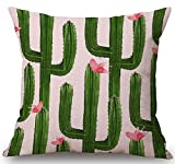 Fresh Ink Painting Beautiful Various Tropical Rainforest Potted Plants Cactus Flowers Echinopsis Tubiflora Cotton Linen Decorative Throw Pillow Case Cushion Cover Square 18 X18 Inches