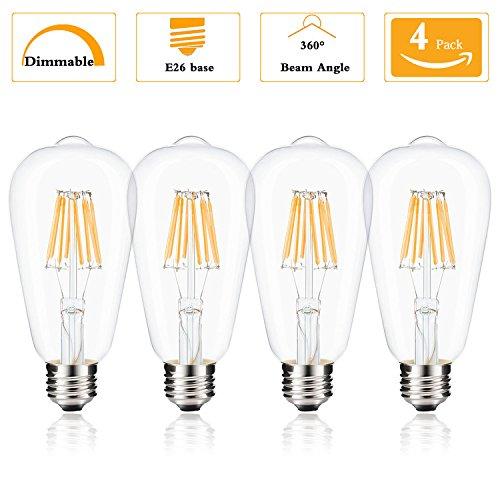 (Pack of 1) ST64 Vintage Edison Bombilla LED, de intensidad regulable bombilla LED de 8 W, ...