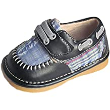 Squeaky Shoes Toddler Boys Leather Black Plaid Shoes